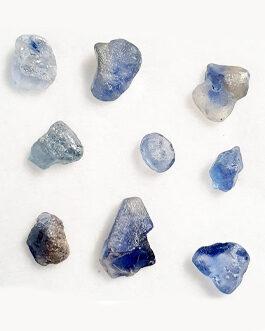 Brut de Saphir bleu: Lot: 9 pièces
